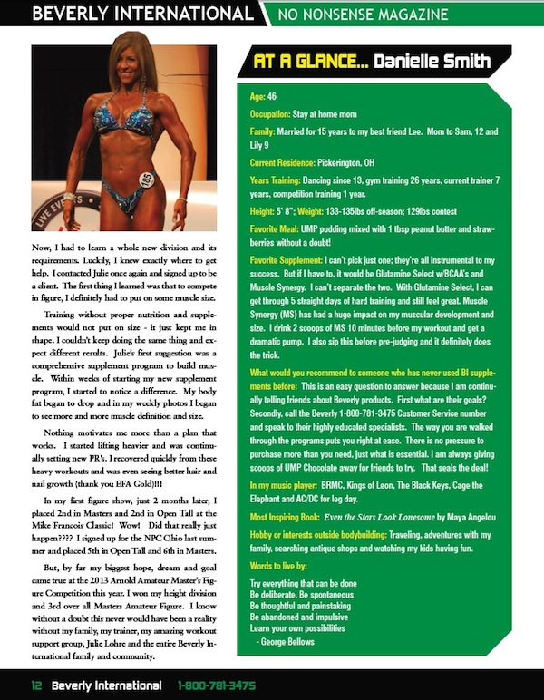 Julie Lohre FITBODY Profile Danielle Smith Beverly International No Nonsense Magazine