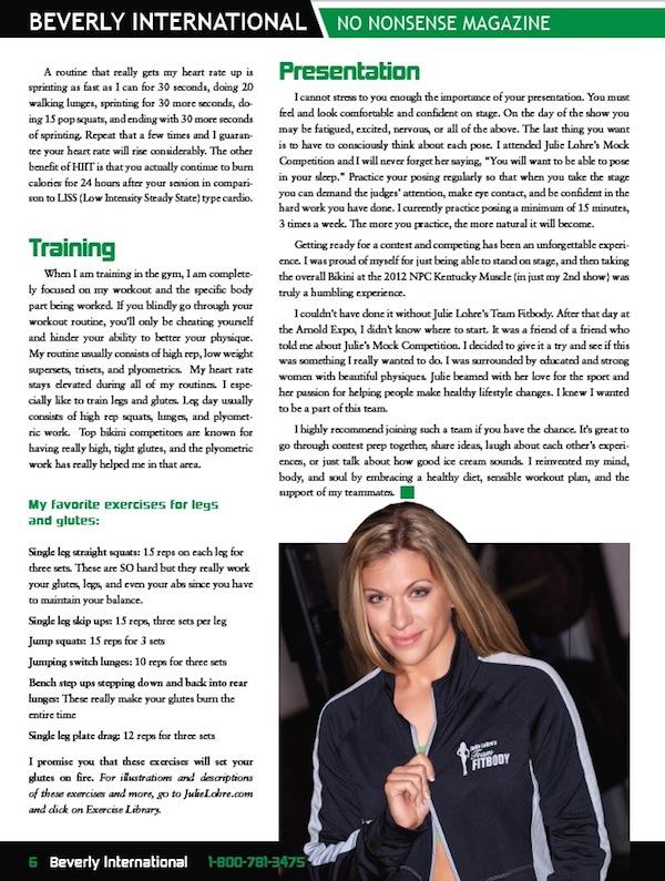 Julie Lohre FITBODY Profile Sarah Vance Beverly International No Nonsense Magazine