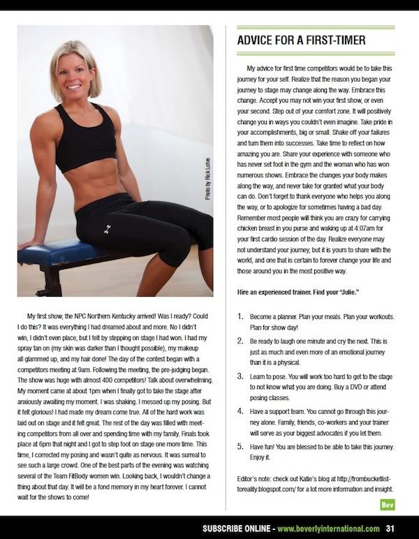 Julie Lohre FITBODY Profile Katie Craig Beverly International No Nonsense Magazine Cover