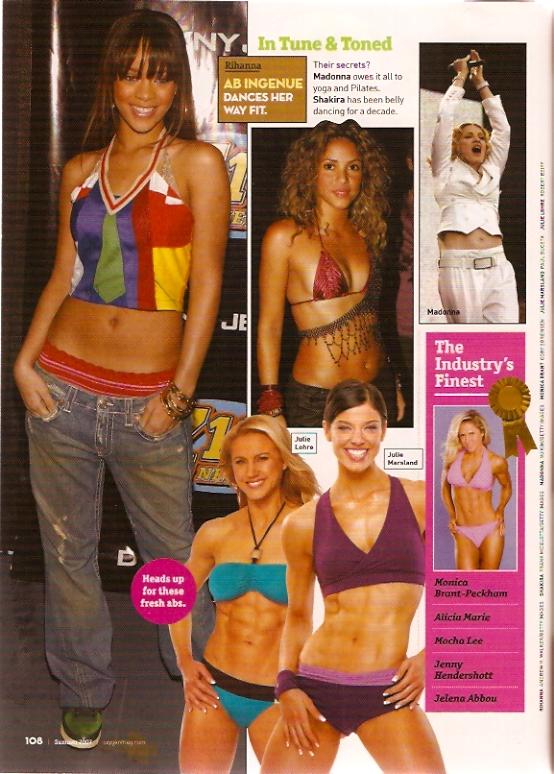 Julie Lohre with Shakira & Madonna Oxygen Magazine