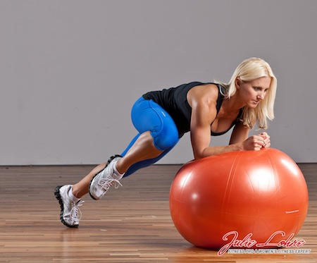Stability Ball Plank Knee Drive Elbow