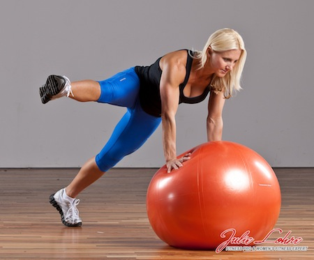 Ball Plank Lateral Leg Lift
