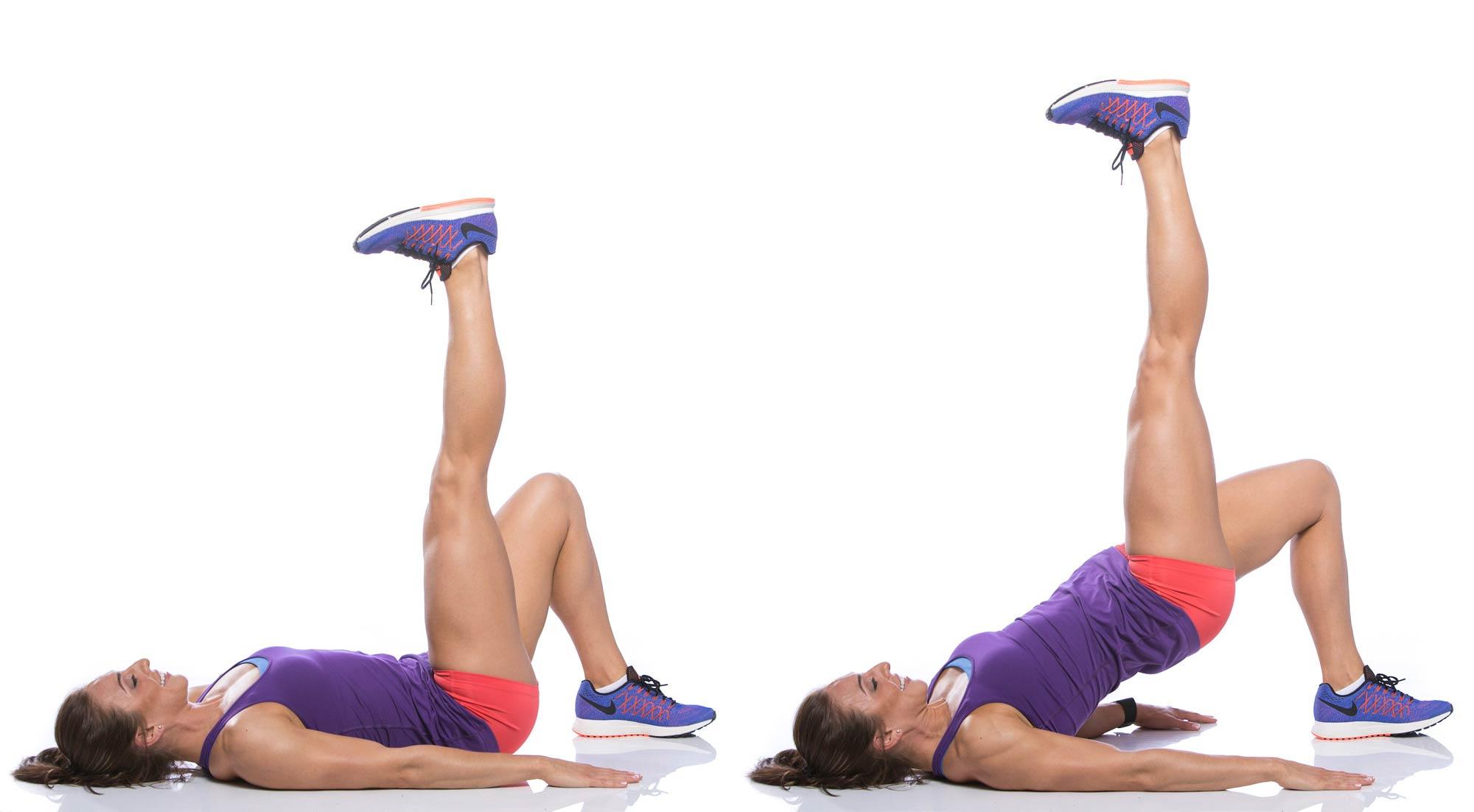 Butt workouts for women straight leg upward glute bridge